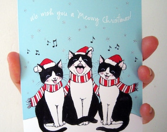 Meowy Christmas Holiday Kitties Greeting Card