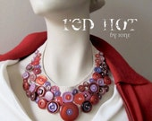 red hot button necklace vintage crocheted bib collar statement