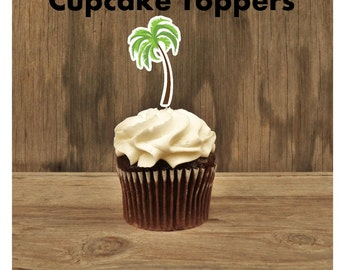 Beach Party - Beach Party Collection, Set of 12 Palm Tree Cupcake Toppers by The Birthday House