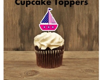 Nautical Birthday Party - Set of 12 Hot Pink Sailboat Cupcake Toppers by The Birthday House