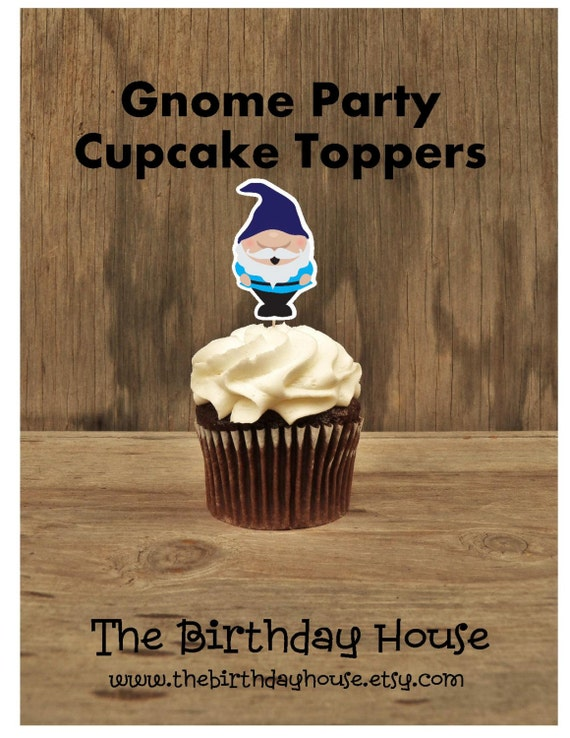 Gnome Garden Party - Set of 12 Blue Gnome Cupcake Toppers by The Birthday House