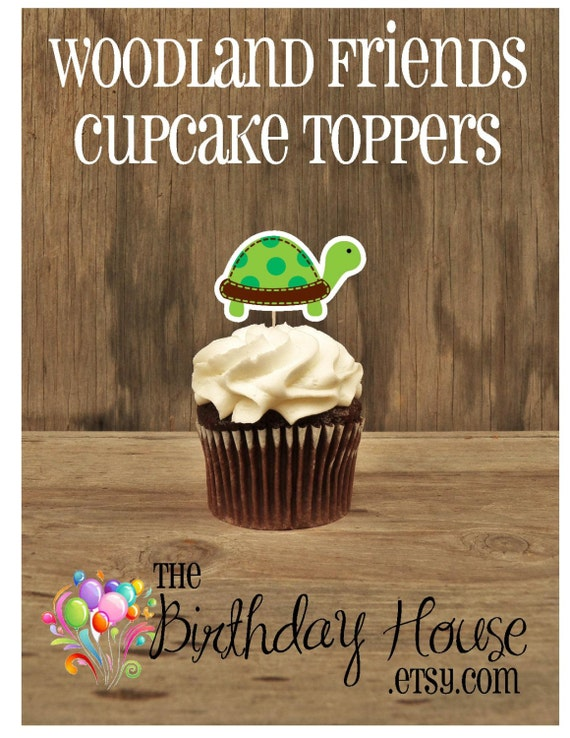Woodland Friends Party - Set of 12 Turtle Cupcake Toppers by The Birthday House