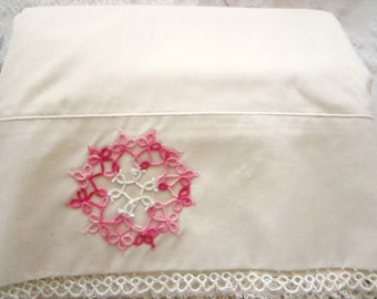 Vintage Bed Sheet Crocheted Trim Hand Sewn Hems Cream with Pink Twin
