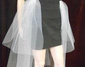 Flirty Tutu  BUSTLE, SKIRT overlay , Tulle Elastic Skirt on Pin Fasteners, Detachable