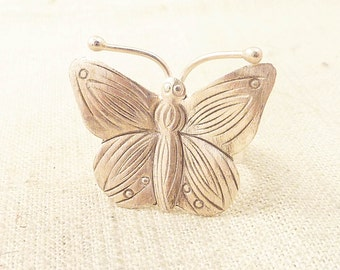 Size 8 Vintage Handmade Studio Sterling Butterfly Ring