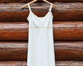 Organic Full Slip Off White Organic Cotton Soy Lingerie w/ your color of Lace Dress Extender Sexy Chemise Soft Nightie Sleepwear Eco