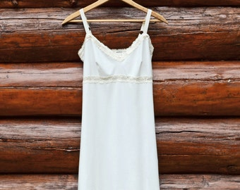 Organic Full Slip Off White Organic Cotton Bamboo Lingerie w/ your color of Lace Dress Extender Sexy Chemise Soft Nightie Sleepwear Eco