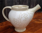 White Fern Pottery Teapot