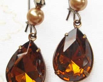 Amber Crystal Earrings - November Birthstone - Best Christmas Gifts - Old Hollywood Sparkle - BELLE Amber