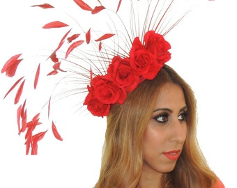 Asya - Red Rose Fascinator Hat for Weddings, Kentucky Derby and Special Events With Headband(in 6 colours)