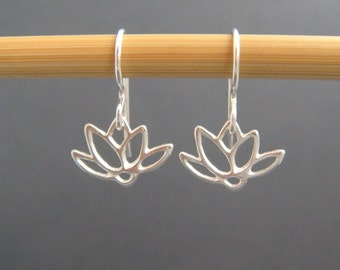 tiny silver earrings. lotus flower earrings. sterling dangle. petals. floral botanical nature. drop earrings simple zen jewelry gift for her