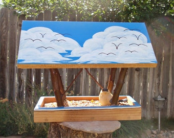 Bird Feeder - Covered Bridge Style Bird Feeder - Blue Skies & Fluffy Clouds with Flying Birds - Reclaimed Wood and Branches Bird Feeder