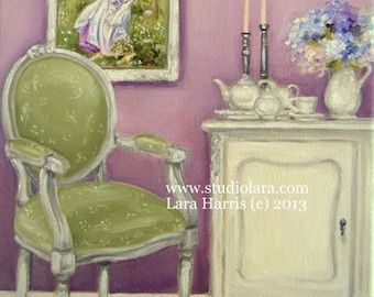 Morning Tea with Windflowers (after Waterhouse) Chair Painting in Oil by LARA 8x10