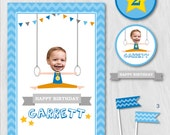 Gymnastics Party, Gymnastics Birthday, Tumbling Party, DIY Party Collection by MayDetails with your CUSTOM PHOTO, Party Kit