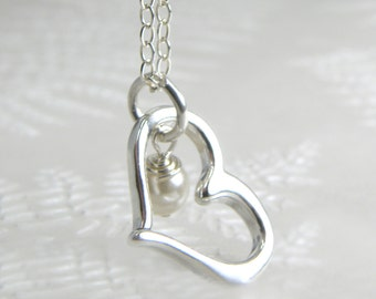 Sterling Silver Heart Necklace, Charm Pendant, Pearl Birthstone Personalized Jewelry, Mom Personal Gift, For Teen, Custom Handmade