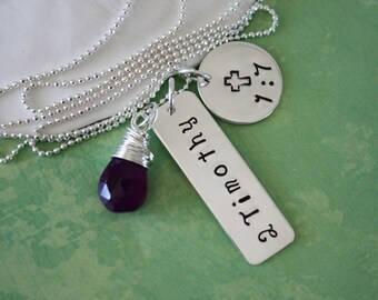 Bible Verse Personalized Necklace, Birthstone Necklace, Personalized Chapter, Sterling Silver Necklace