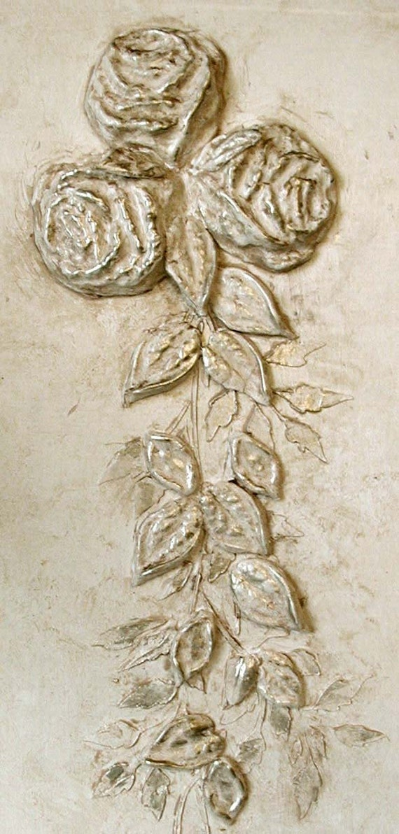 Raised Plaster Cabbage Rose And Plaster Mold Stencil Setwall