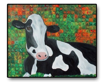 Cow Painting 22x28 Modern Fine Art Acrylic and Oil Colorful Large Wall Decor Black and White Farm Animal Contemporary Farmhouse Decor