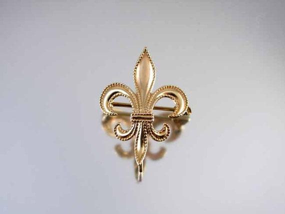 Antique Edwardian 10k rose gold fleur de lis brooch pin / watch pin / victorian jewelry / antique jewelry / fine jewelry / antique pin / pin