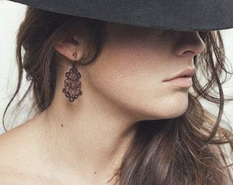 Lace earrings - Lantern - Porto, black or white lace