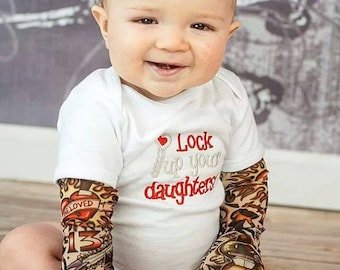 Embroidered tattoo sleeve onesie/t-shirt--Lock up Your Daughters
