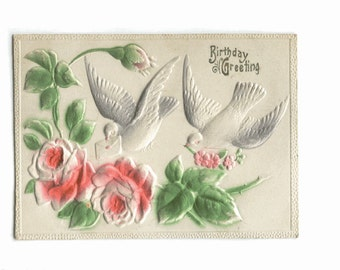 ROSES and DOVES - Embossed High Relief VINTAGE Postcard - Double Backed
