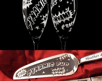 Comic Book Wedding Set, Cake Server, Knife, Champagne Glasses, Engraved, Personalized Wedding Present