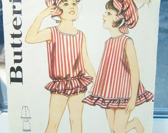 Vintage Butterick 3160 Girl's Sewing Pattern, Toddler Swimsuit, Bloomers and Sun Hat, Bathing Suit, Toddler Size 3 CUT -  DRESS MISSING