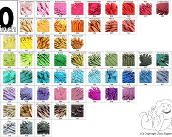 Zippers: 20 Inch Mix and Match Twenty-five YKK Zippers Choose Your Own Colorful Assortment