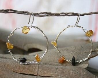 Amber Hoop Earrings Silver Hoops Baltic Amber Earrings Wire Wrapped