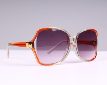 1970s vintage sunglasses amber & clear lucite big purple lenses 1980s eye glasses beach summer vacation