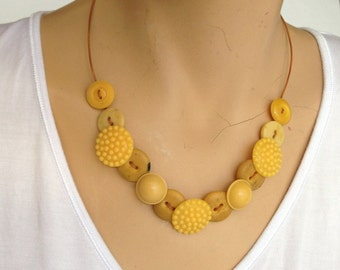 Vintage button necklace, golden yellow vintage buttons.
