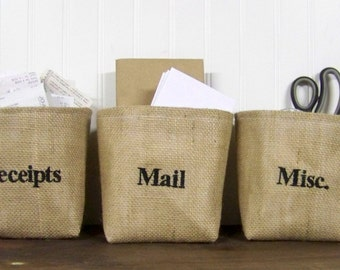 free shipping - personalized burlap baskets - mail - receipts - misc - embroidered - custom - organize - organization - storage baskets