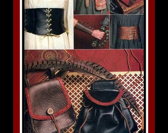 HISTORICAL GARMENT ACCESSORIES-Costume Sewing Pattern-Gauntlet-Corsets-Wrist Bracers-Bags-Pouches-Lace-Up-Buckle Closures-Uncut-All Sizes