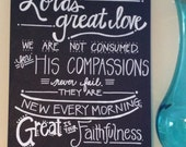 Lamentations 3:22-23 Bible Verse Canvas--Chalkboard-style, Handlettered 16 x 20 Canvas