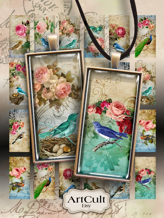 Printable download ROSES AND BIRDS 1x2 inch domino size Images Digital Collage Sheet for Pendants Magnets bezel settings scrapbooking