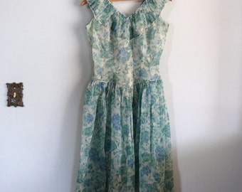 vintage 1950s Dress  // Whisper Willow Dress // Sheer Green Floral Chiffon
