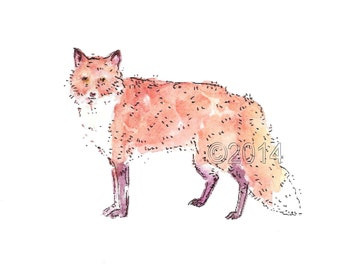 red fox 5 X 7 art print, room decor