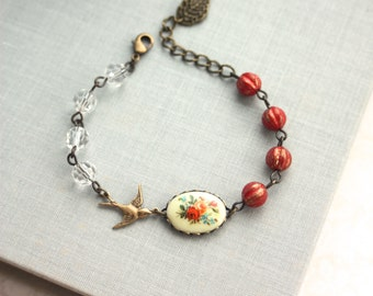 Vintage Floral Bouquet Bird Bracelet. Rustic Red Melon Glass Beads Adjustable Bracelet. For BFF. Sister. Bridesmaid Gift, Red Autumn Fall