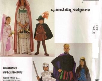 Medieval Queen Hooded Cape King Knight Robin Hood Halloween Costume Sewing Pattern McCalls 4404 399 Misses Men Children Boy Girls Child Teen