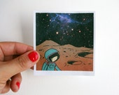 Space Polaroid - Hand cut girl drawing