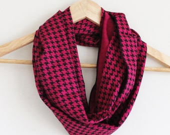 READY TO SHIP - Upcycled Infinity Scarf - Great Gift - Lightweight Rayon - Fuscia Black Houndstooth