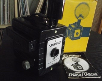 1950's Bakelite Spartus 120 Flash Box Camera with Flash & Original Box