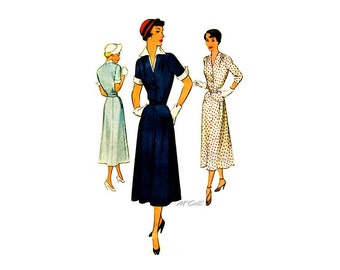 50s Day Dress Sewing Pattern McCall 8110, Front Button Bodice, Dickey, Two Sleeve Lengths, Flared Skirt, Bust 38, Vintage Sewing Pattern