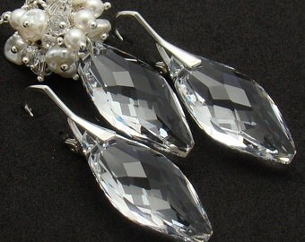 Bridal Jewelry Set, Sparkle Swarovski Elements Sterling Silver Clear White Bridal Necklace and Earrings Keshi Pearls Navette  Pearls Clear