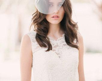 Mini English net birdcage veil, mini veil, ivory bridal veil, wedding veil, short veil - ready to ship - FREE SHIPPING*