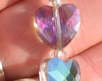 10 Amethyst Heart  12mm Glass Beads  BD275