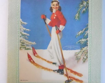 SKIING RETRO 1940s pin-up girl- skiing brunette beauty, 1940s Christmas card