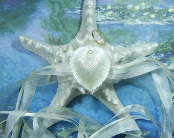 Ring Pillow - Pearly Heart - Starfish  Ring Bearer's Pillow
