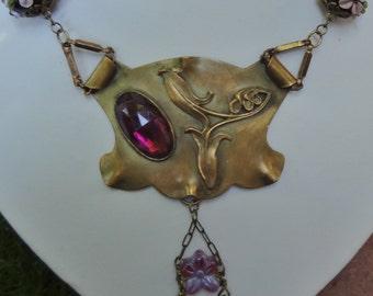 Vintage Art Nouveau Necklace--Amethyst and Art glass